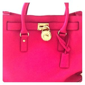 Michael Kors leather pink tote
